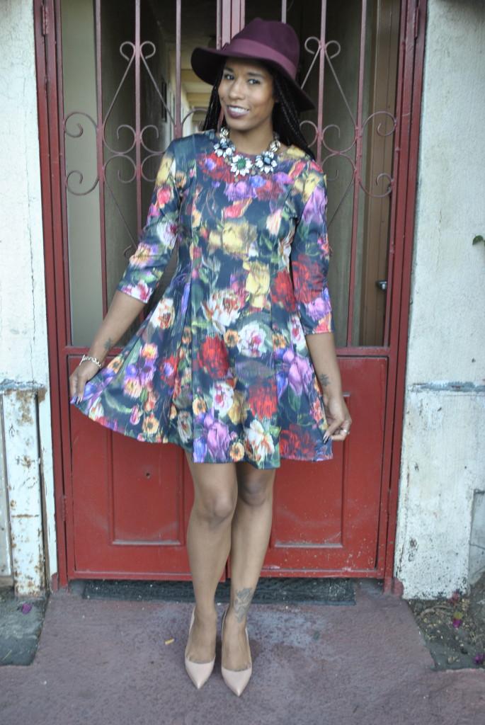 nude pump floral dress