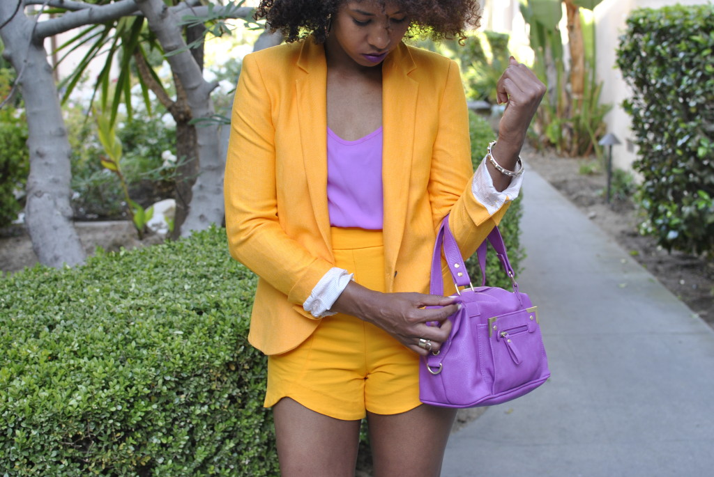 yellow and orchid color blocking
