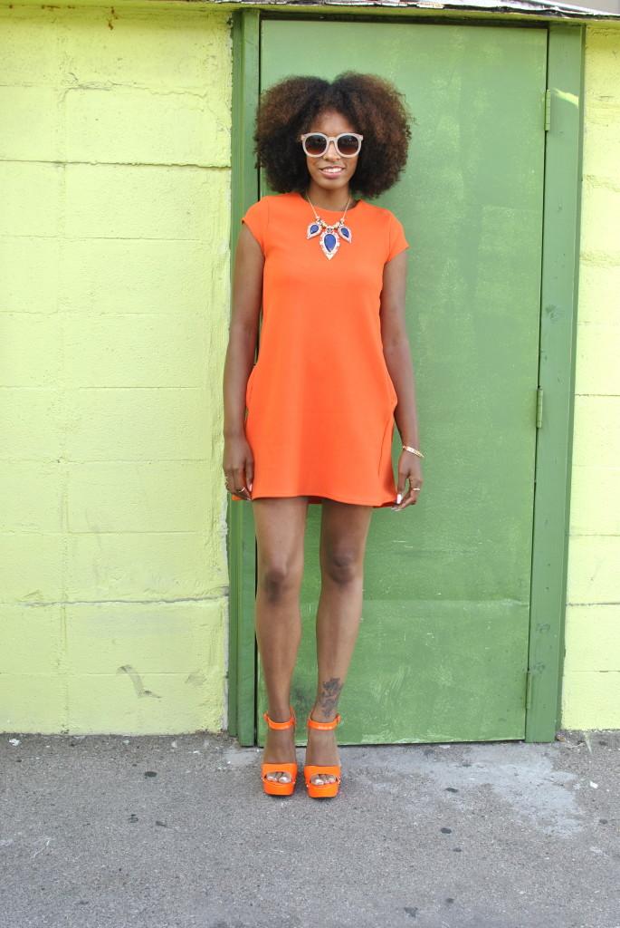 orange shift dress