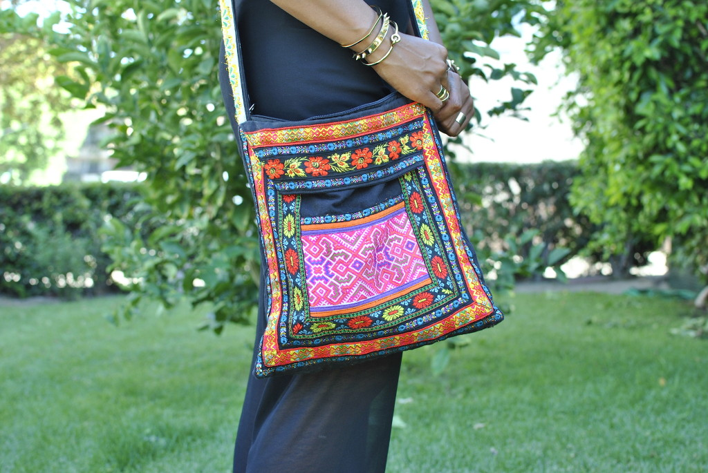 over the shoulder cloth black bag