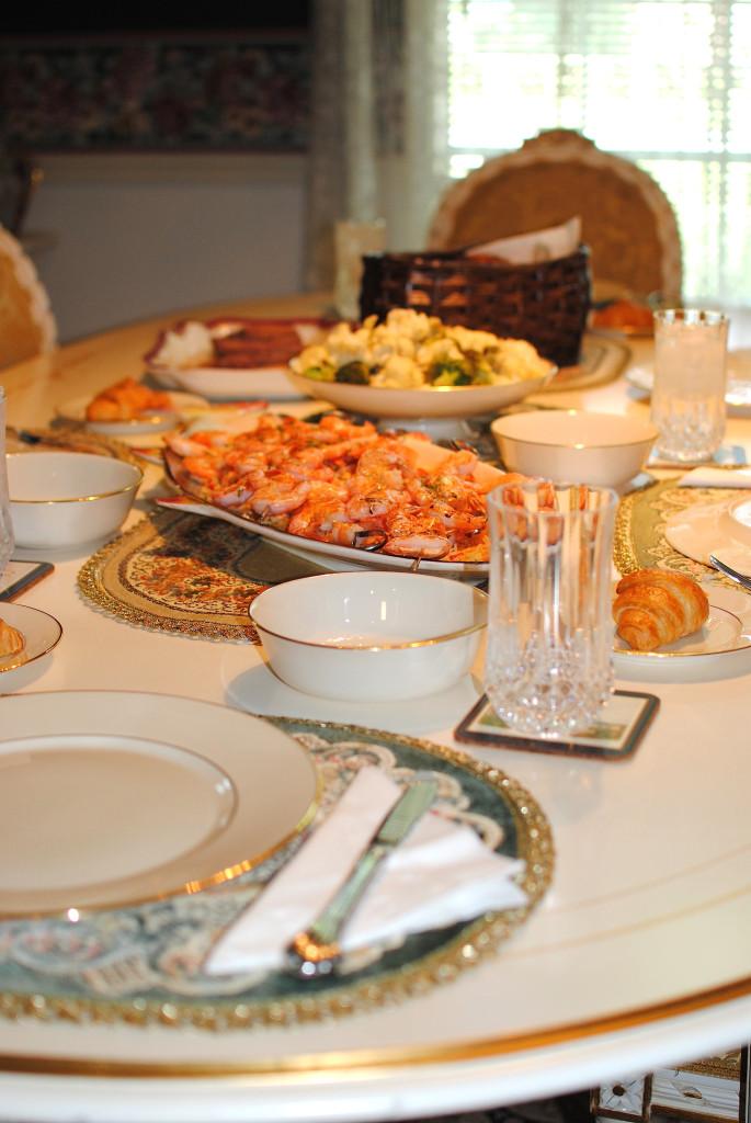 family dinner spread