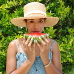 watermelon and straw hat