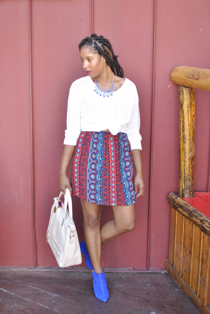 printed skirt for fall