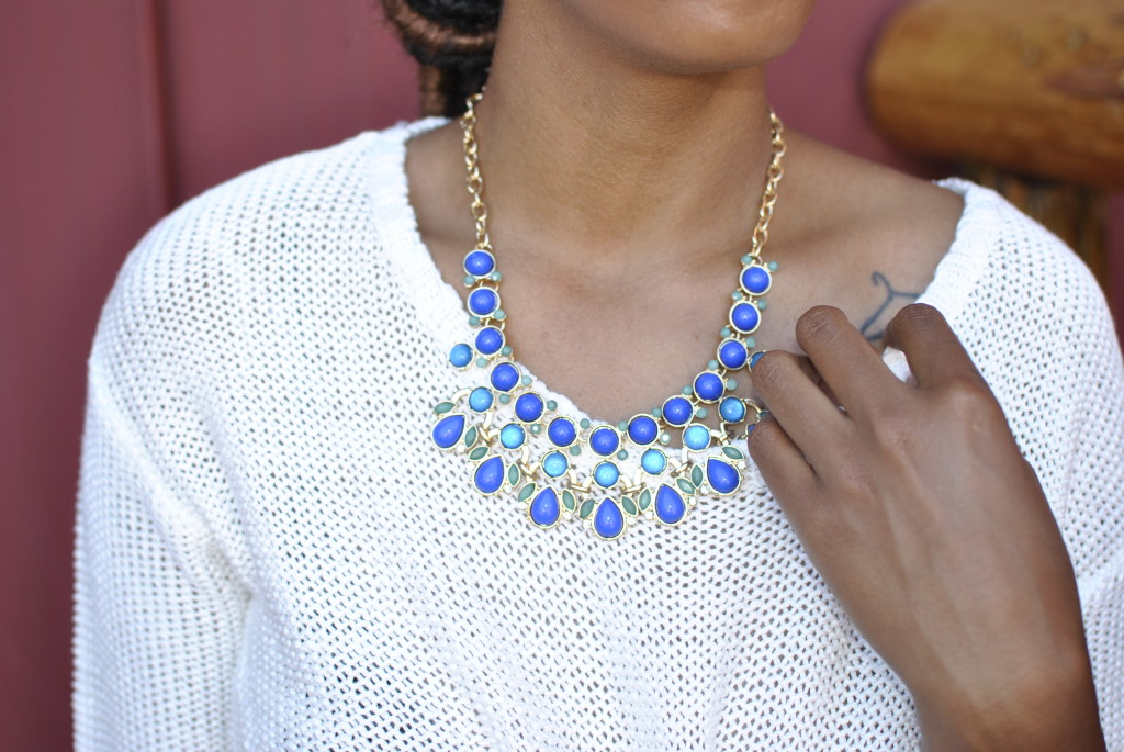 Statement necklace with sweater