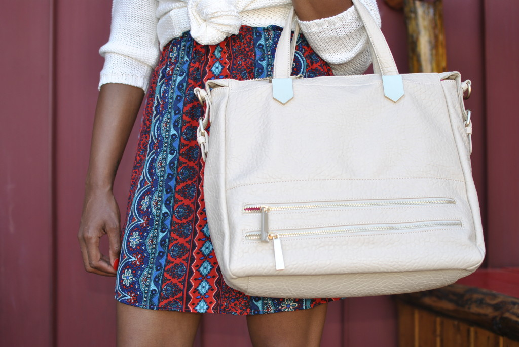white handbag for fall