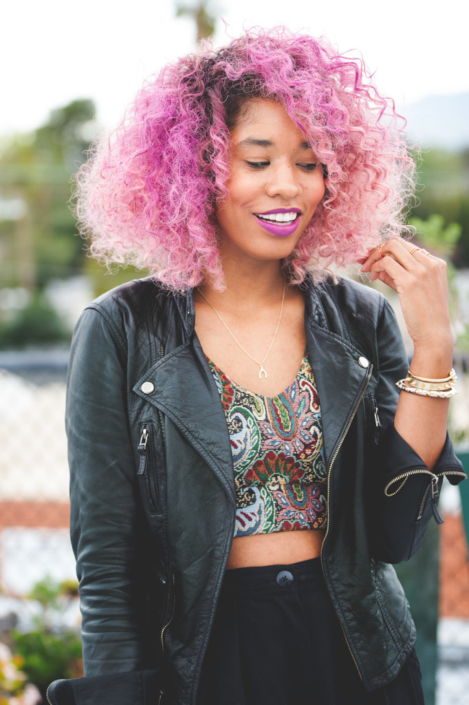 curly pink hair