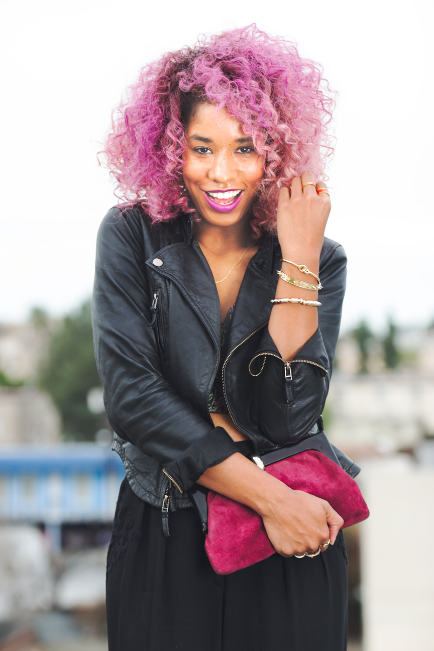 black girl pink hair