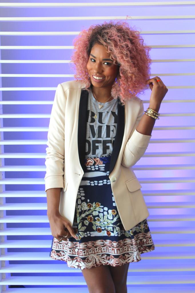 blazer tshirt and skirt