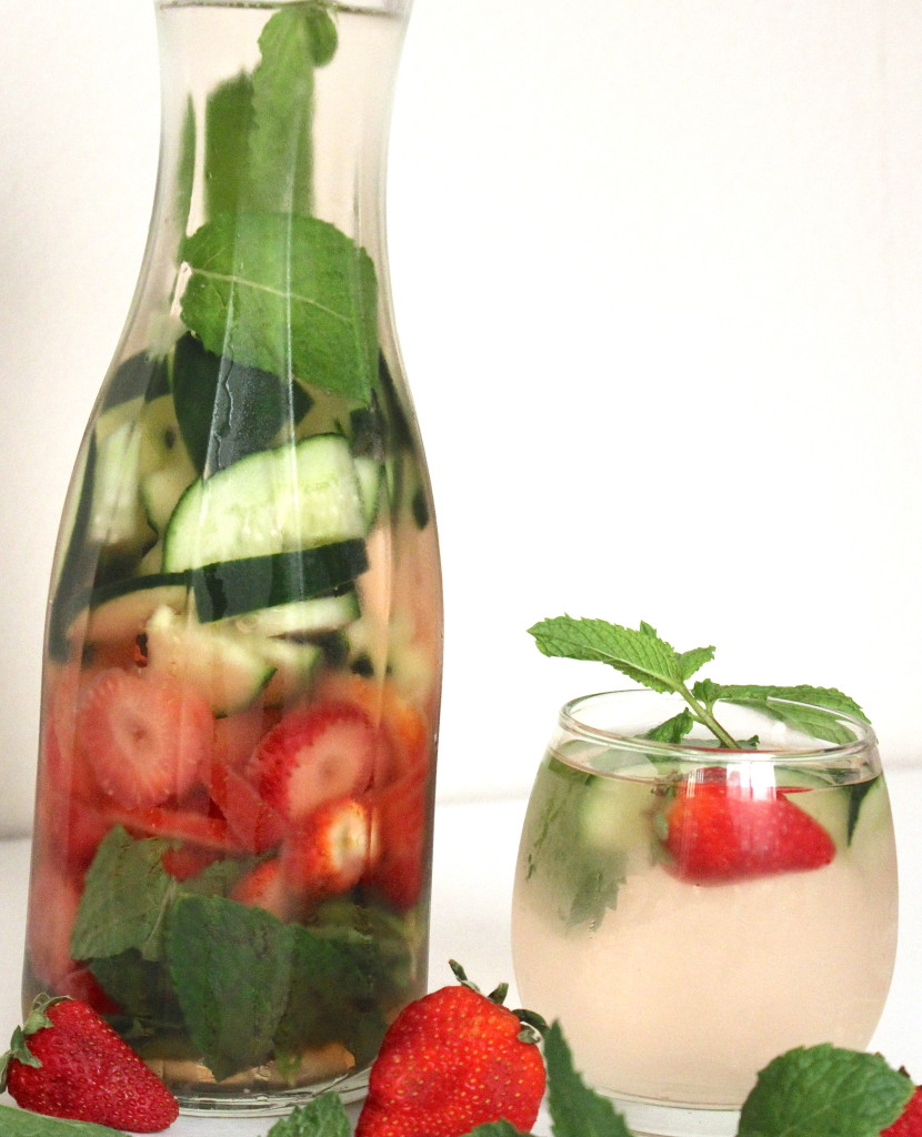 strawberry cucumber mint infused detox water