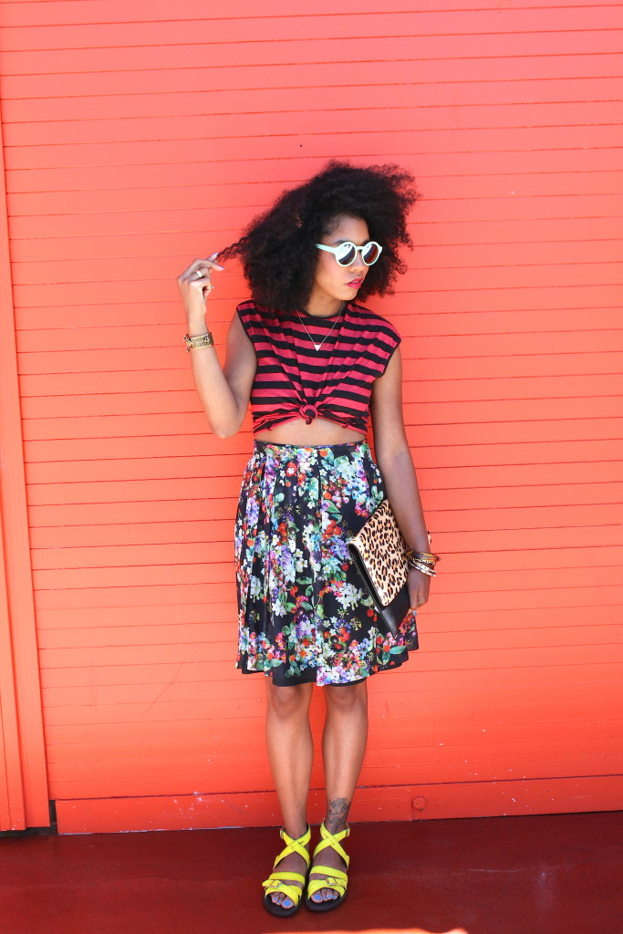 mixing stripes and floral prints