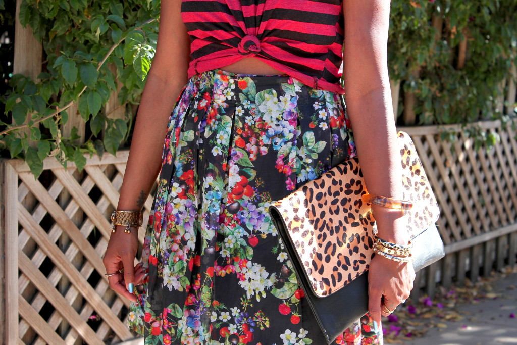 mixing florals and stripes and leopard prints