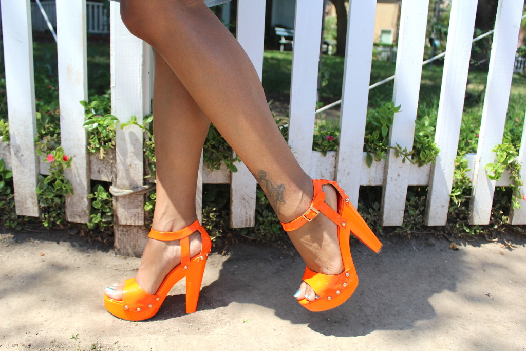 orange  jimmy choo platforms