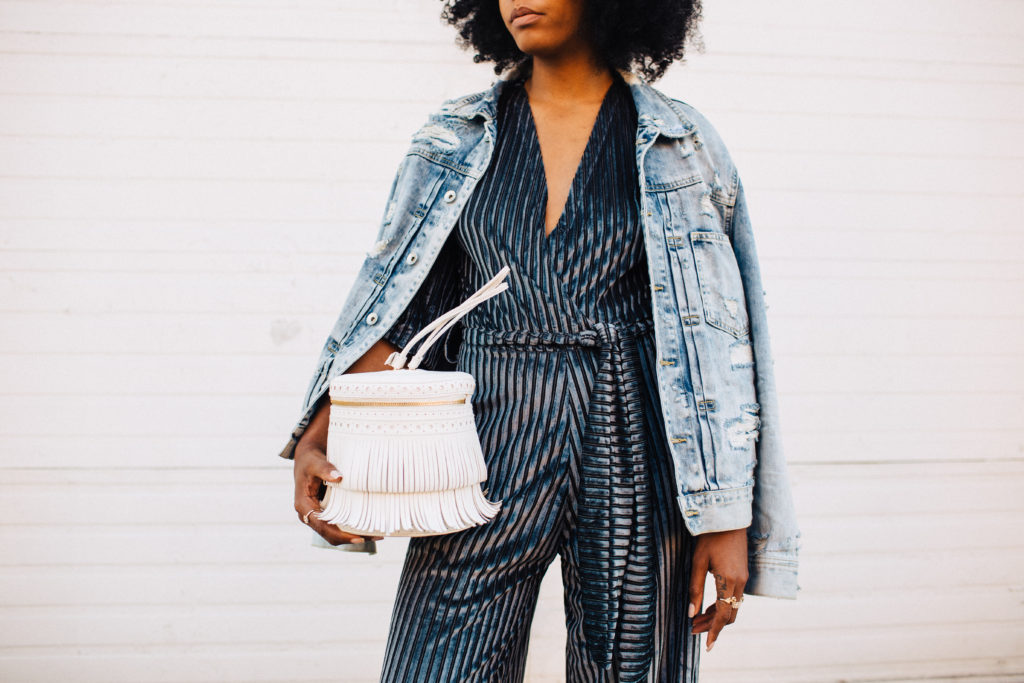 black style natural fashion blogger LA based how to style a velvet jumpsuit in the daytime