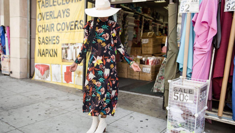 boho chic fall outfit dress h&m lack of color montana white felt fedora