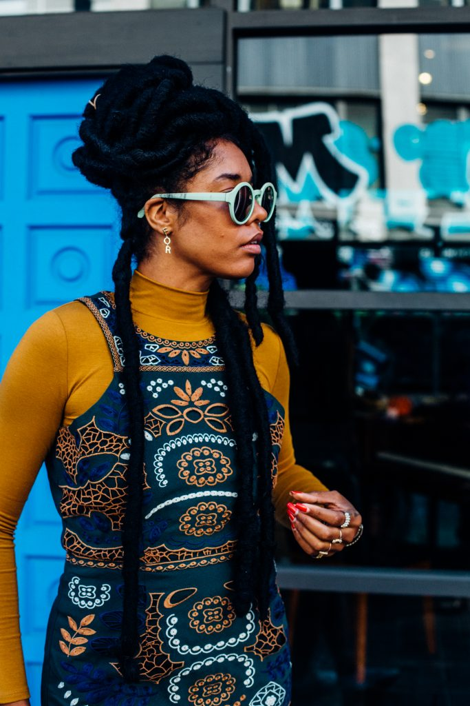natural hair faux locs how to style. street style black fashion blogger