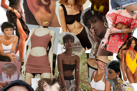 summer fashion beach mood board collage