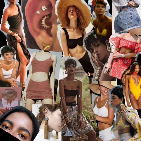 summer fashion beach mood board collage