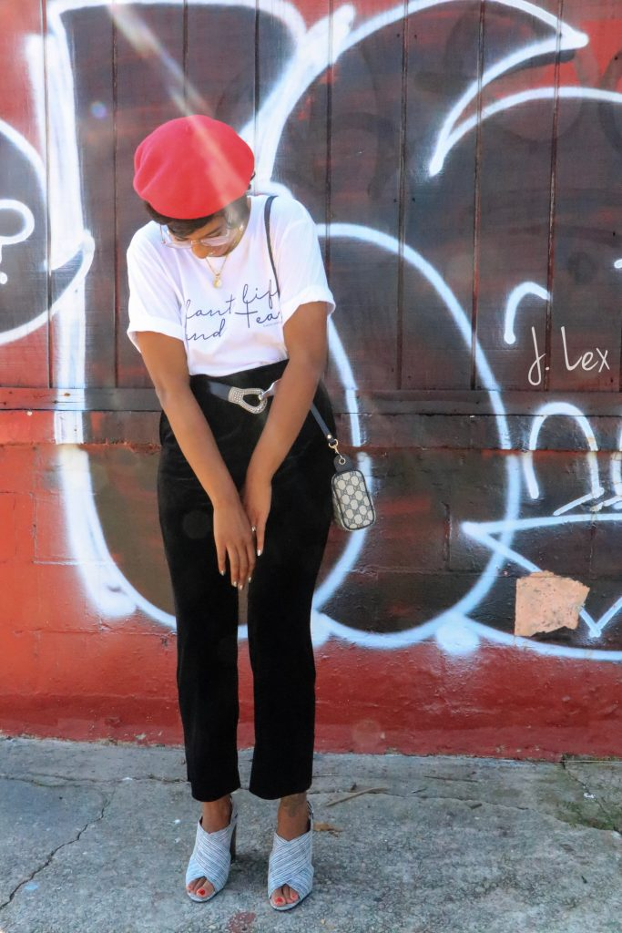 red beret for fall fashion Los angeles black girl style blogger warby parker haskell