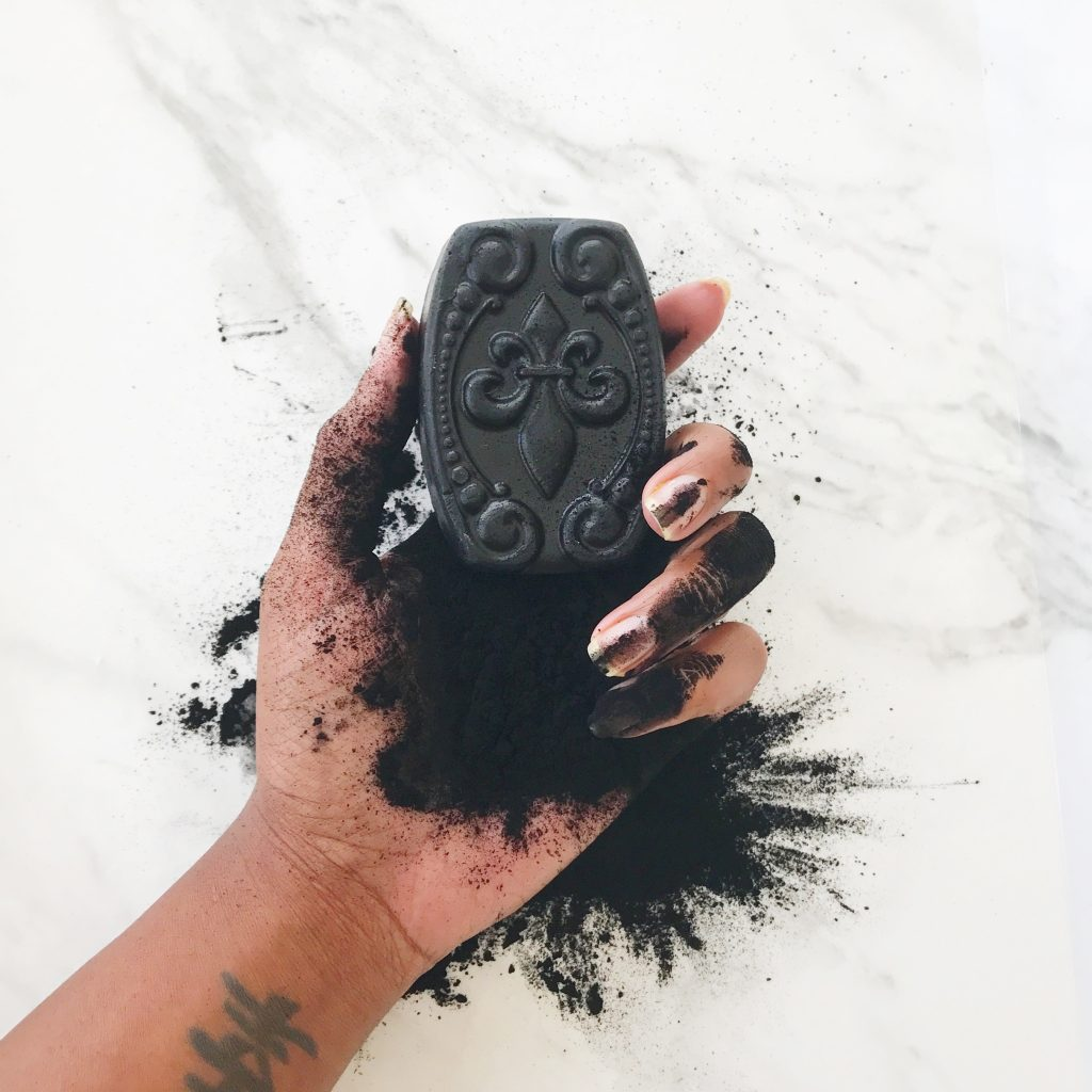 Activated charcoal soap for skincare, hyper pigmentation, all natural black soap