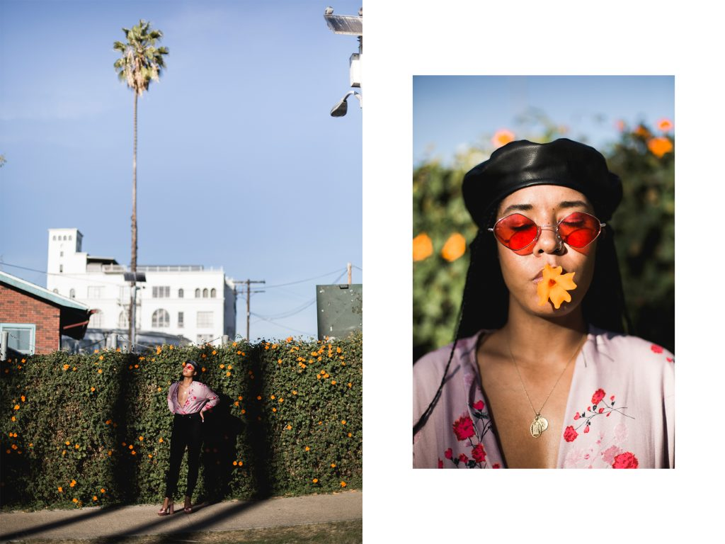 Los Angeles LA NYC blogger. Black fashion blogger. How to make money blogging. Faux leather beret. Zoe kravitz style braids. Red sunglasses. Silverlake photo shoot location