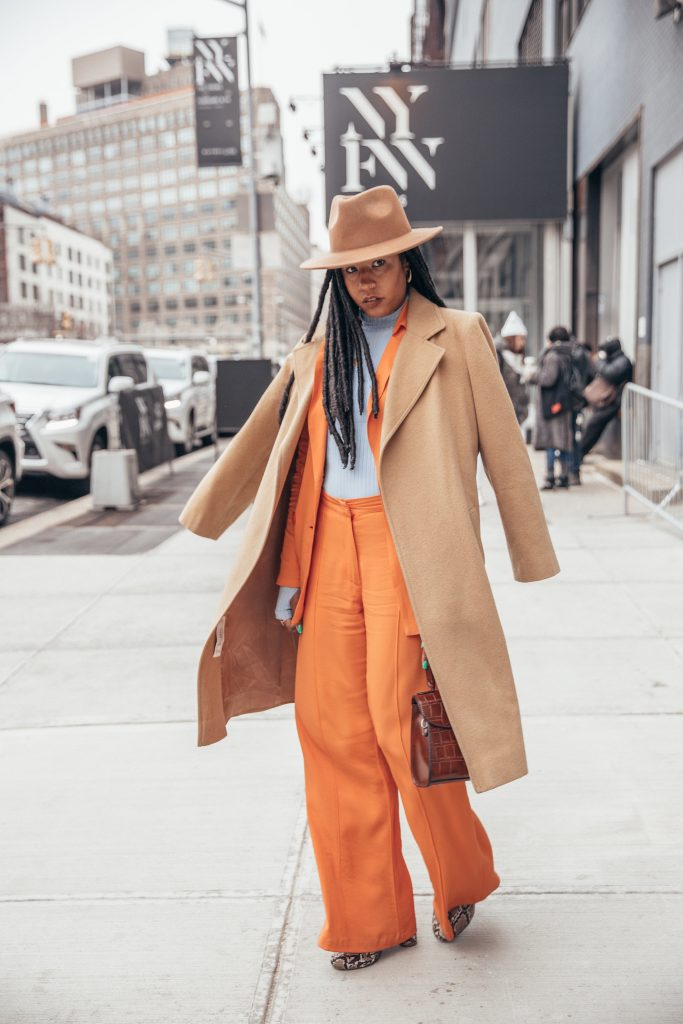 Nyfw February 2018 fall 2018 New York fashion week street style black girl fashion blogger orange pastel summer suit