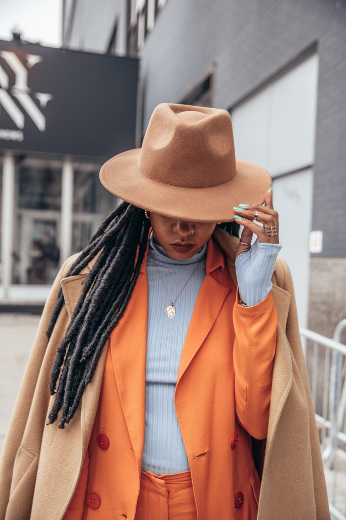 Nyfw February 2018 fall 2018 New York fashion week street style black girl fashion blogger orange pastel summer suit Color blocking. Green China glaze nail polish