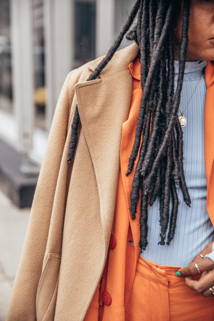 Nyfw February 2018 fall 2018 New York fashion week street style black girl fashion blogger orange pastel summer suit Faux locs natural hair