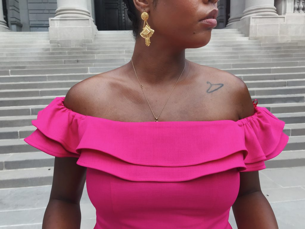 What to wear to a fall wedding hot pink ruffle comfortable black tie optional dress topshop