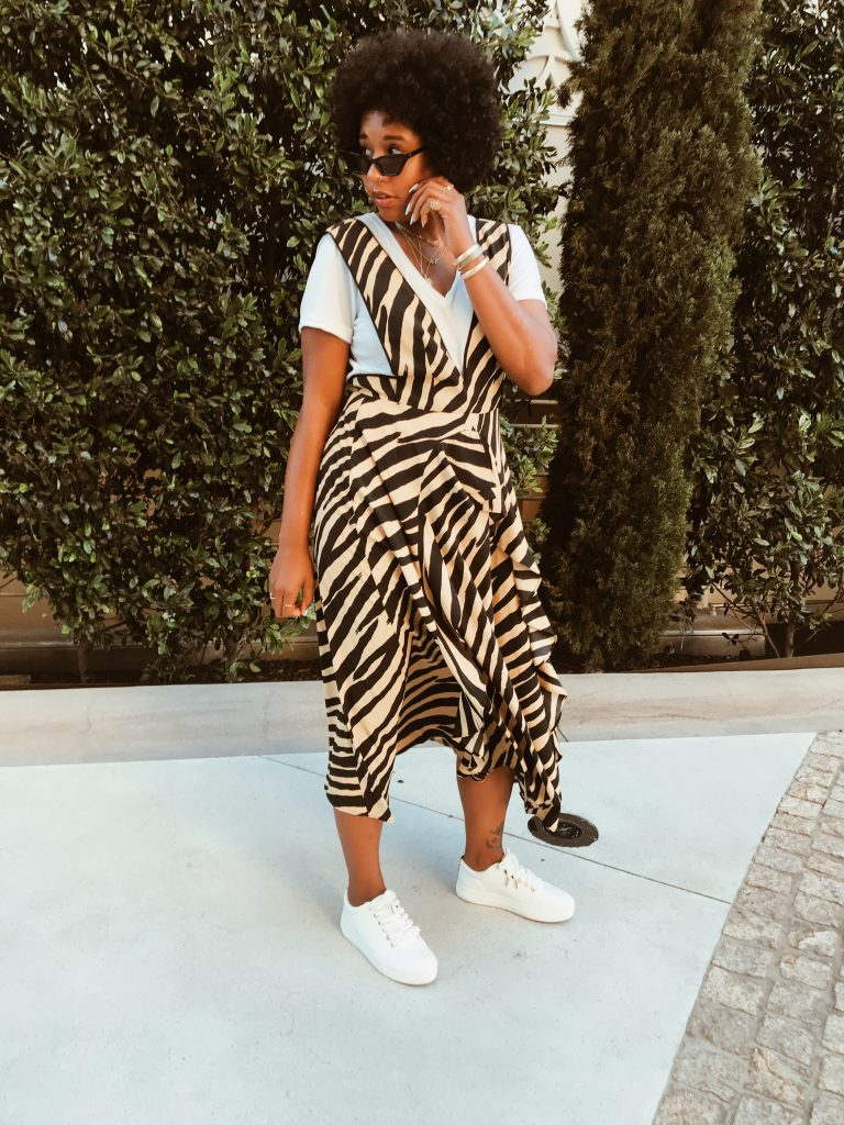 Zebra print Topshop dress with plunging neckline deep v. Wear a dress over T-shirt with sneakers. Brooklyn blogger.