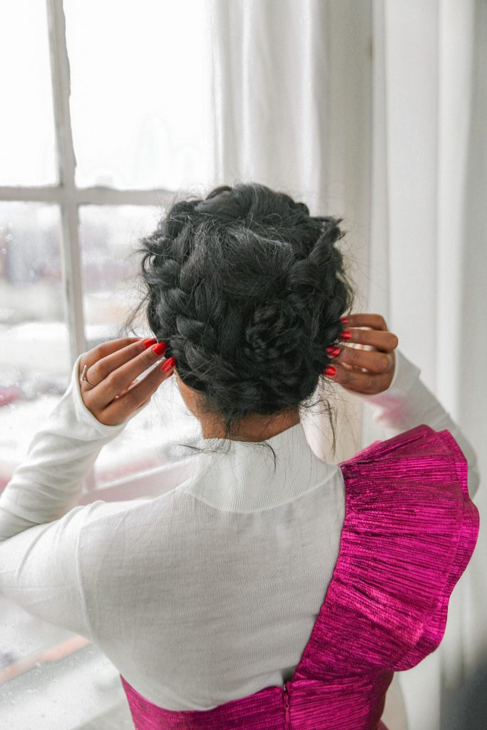 Holiday black girl natural hair braided updo halo braid. Mejuri earrings Amarilo. Nye hair ideas outfit style