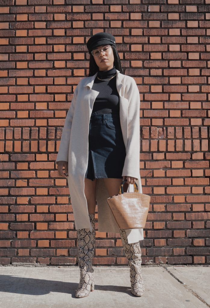 RTR sustainable fashion with rent the runway how to style snakeskin boots. Black mini skirt. Loeffler randall bag nyc blogger black girl style fashion blog