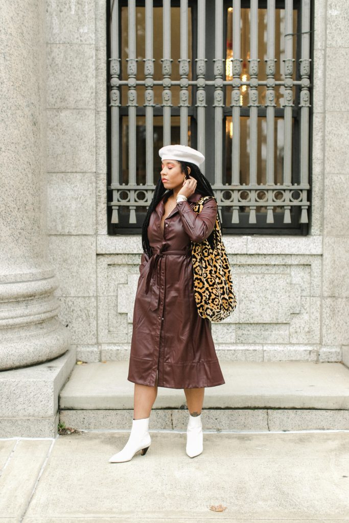 brown faux leather trench coat as a dress winter. fluffy leopard print purse. how to find a photographer for your fashion blog nyc influencer style blogger