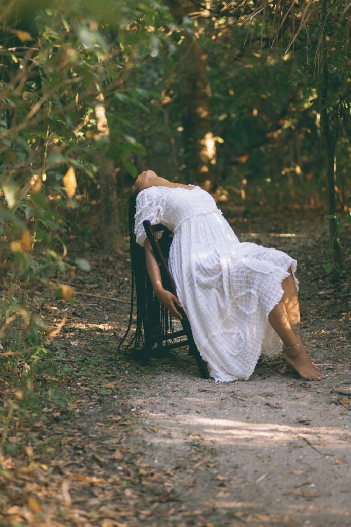 shop doen white prairie dress new Orleans photo shoot boho black girl in Forest ethereal photography
