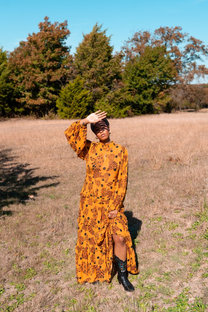 farmrio dress. brazilain designer. black African American NYC black girl fashion influencer blogger Texas photo shoot safari