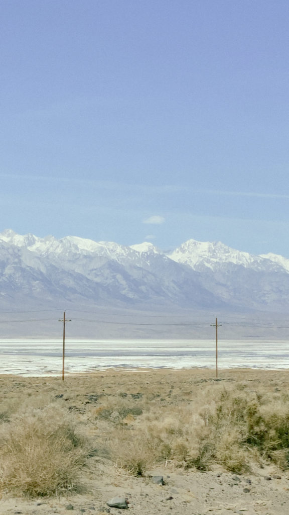 snow mountains in Death Valley